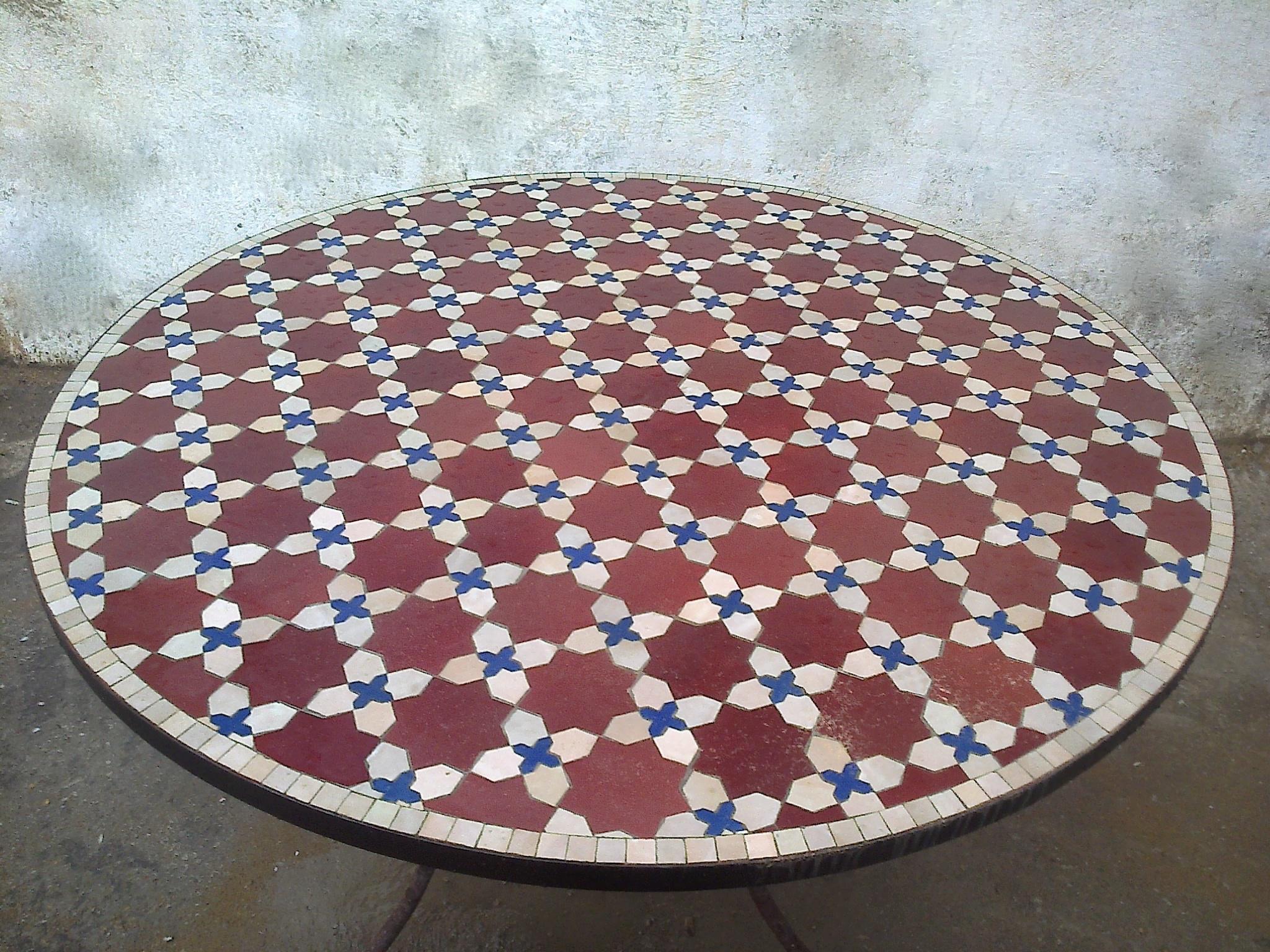 Table Ronde En Zellige Motif Fleur Matecha Art Et Sud Deco