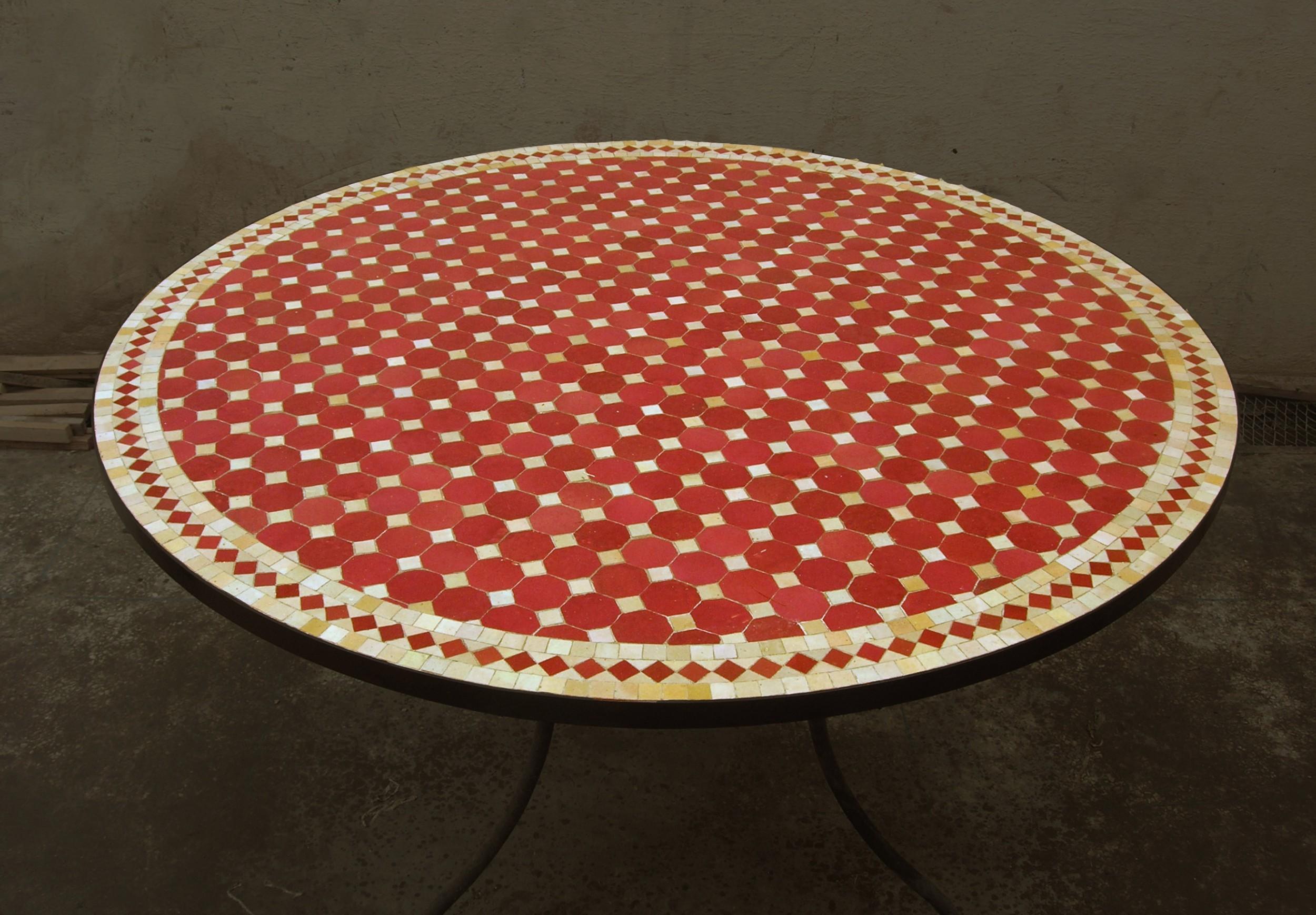 Table Ronde En Zellige Motif Tagra Art Et Sud Deco