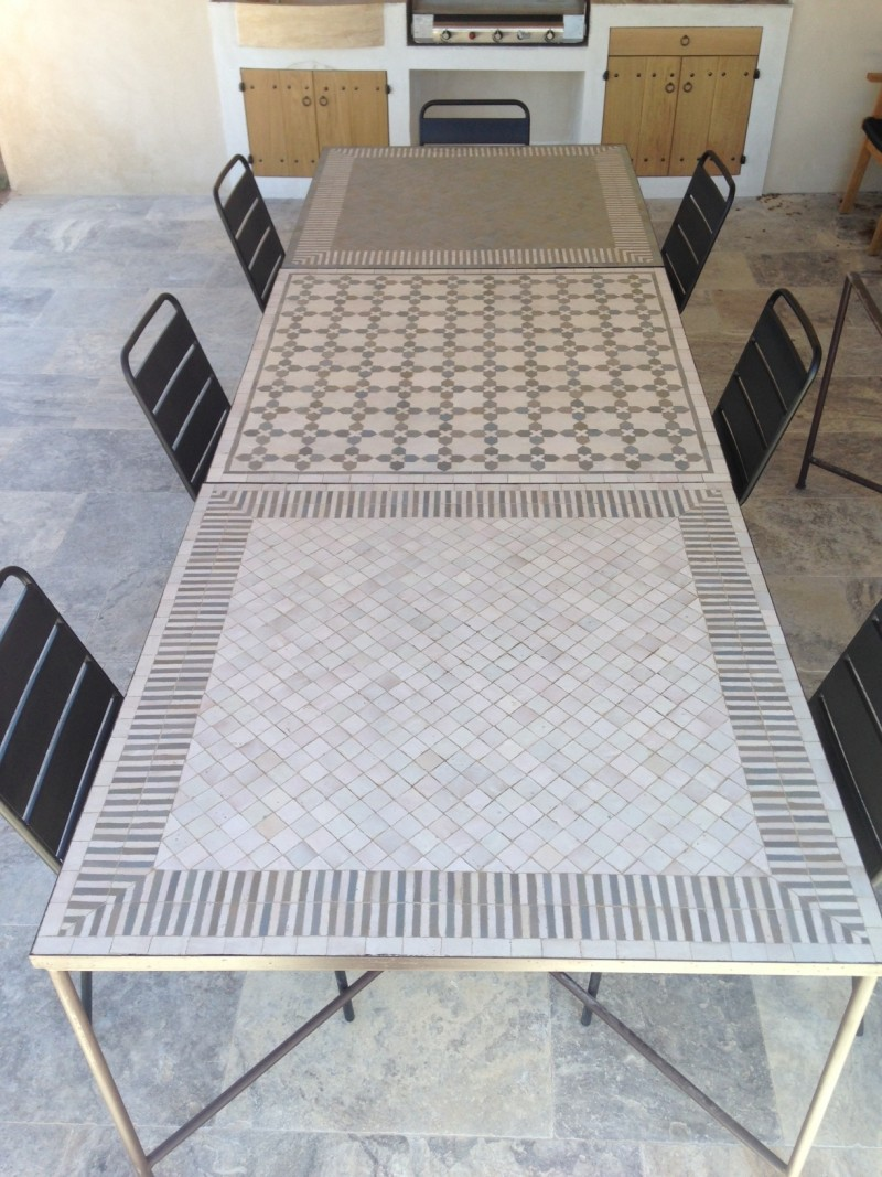 Tryptique Table Zellige blanc et gris