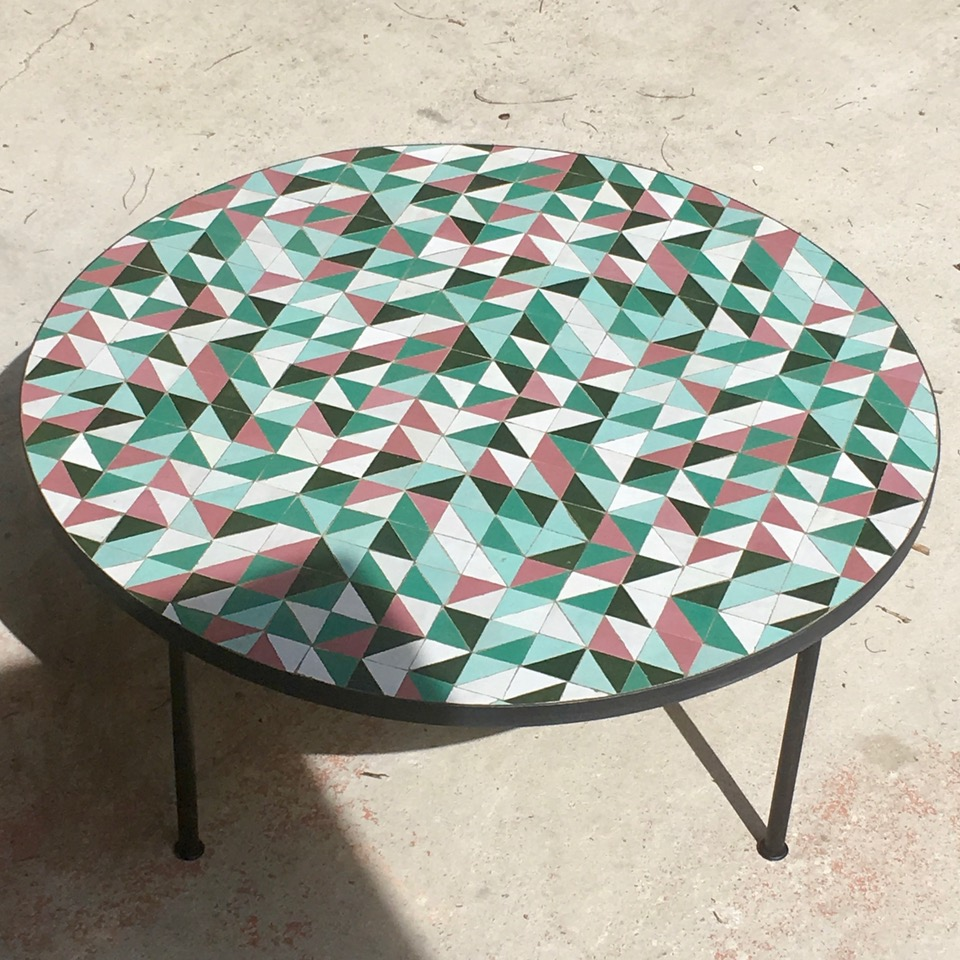 Table Zellige Diamètre 100cm Motif Triangle P1V2FV4 artetsud